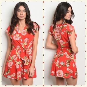 Dresses & Skirts - JUST IN NEW Cute Coral Floral Romper w/tie front